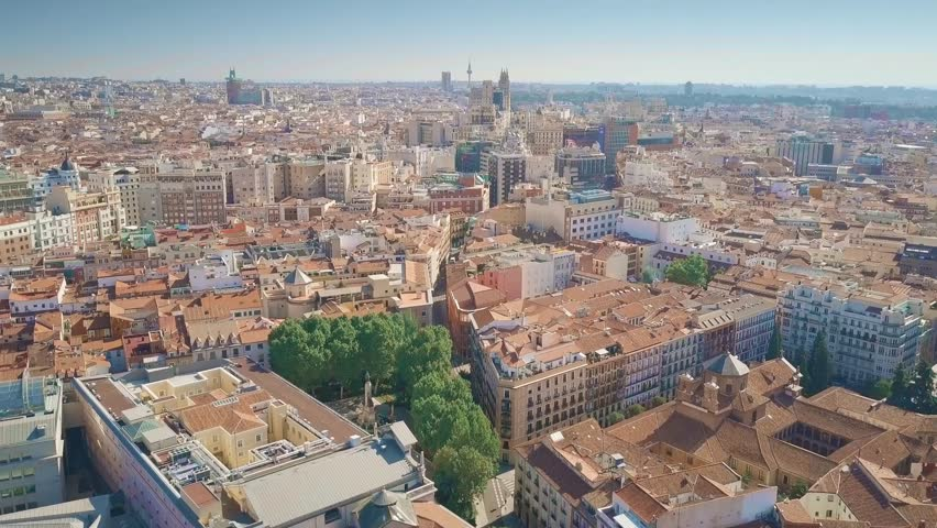 Aerial view of Madrid cityscape, Spain | Shutterstock HD Video #1017519625