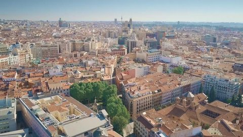 Aerial view of Madrid cityscape, Spain