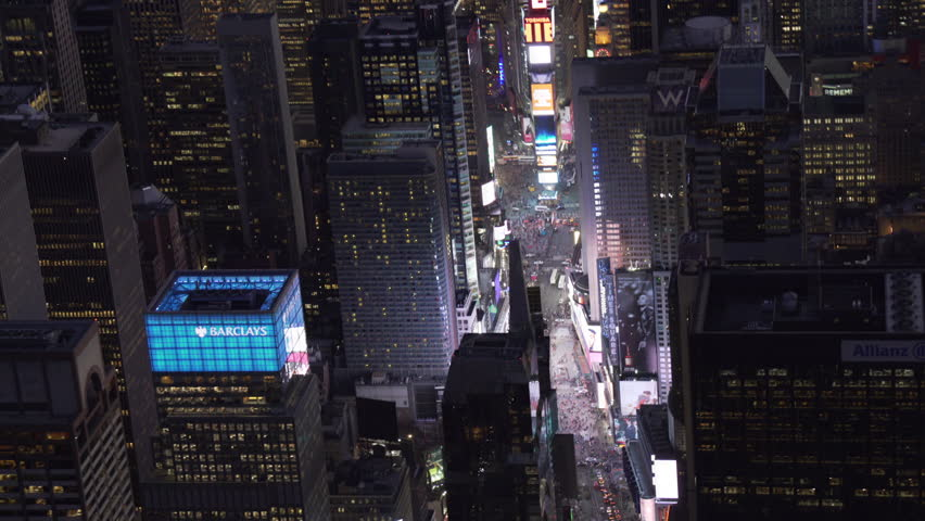 New York City Circa-2015, telephoto aerial view approaching Time Square at night | Shutterstock HD Video #1017554305