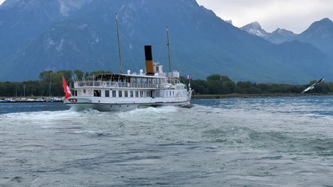 Public course whell ship on Lac Leman Genfersee. Steamship cruising. CH- Switzerland. 2nd Oct. 2018