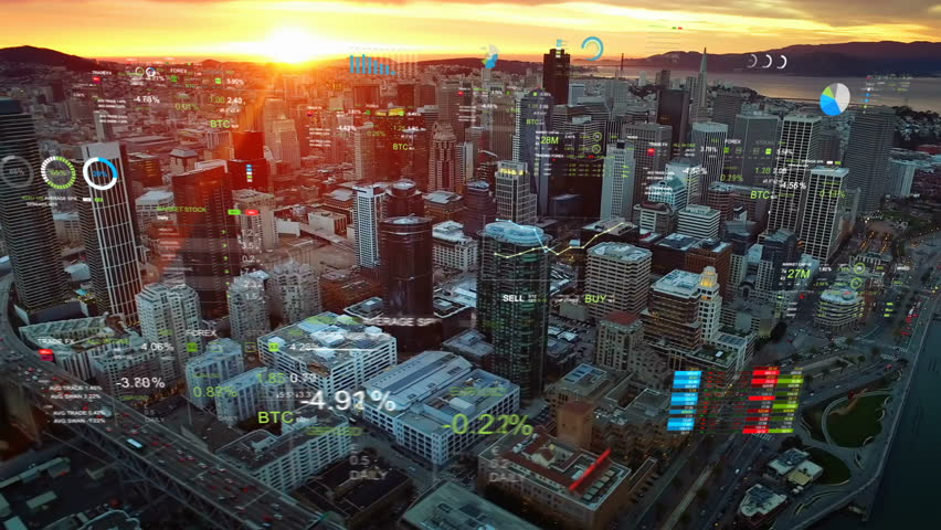 Aerial view of San Francisco with financial charts and data. Futuristic city skyline. Big data, Artificial intelligence, Internet of things, VR. Stock exchange figures.