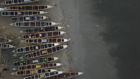 Senegal drone shot aerial over boats