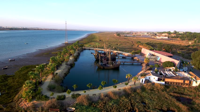 Aerial view in La Rabida, Palos de la Frontera, Huelva. Andalusia, Spain. Cradle of the Discovery of America 4k Drone Video