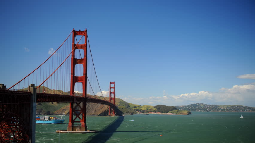 SAN FRANCISCO, USA - MARCH 7, 2010 Time Lapse Cargo Container Ship Passing on San Francisco Bay Golden Gate Bridge