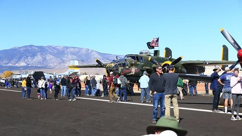 Minden, NV / USA - October 14 2018: People on tarmac viewing static display aircraft at the 2018 Aviation Roundup Airshow in Minden, Nevada