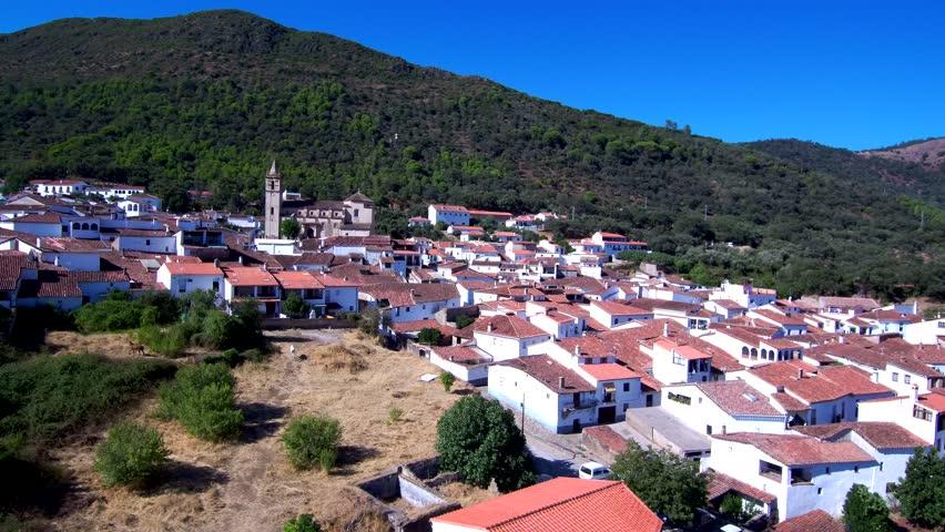Aerial view by Drone in Linares de Sierra, Huelva.Andalusia, Spain. 4k Video | Shutterstock HD Video #1017957805