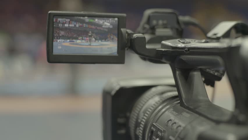 KYIV, UKRAINE – APRIL 24, 2017. Close-up camera during shooting. Media, news, press, journalist, live, broadcast   Shutterstock HD Video #1018085425