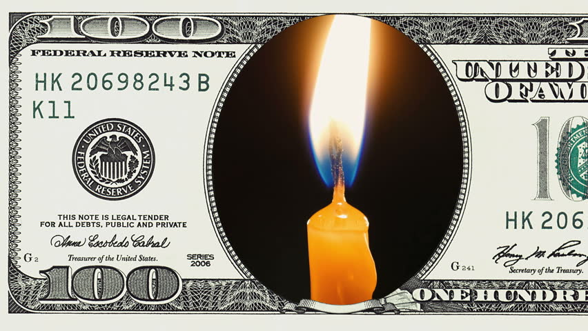 Burning candles in frame of 100 dollar bill. Money gain or lose concept. | Shutterstock HD Video #1018092505