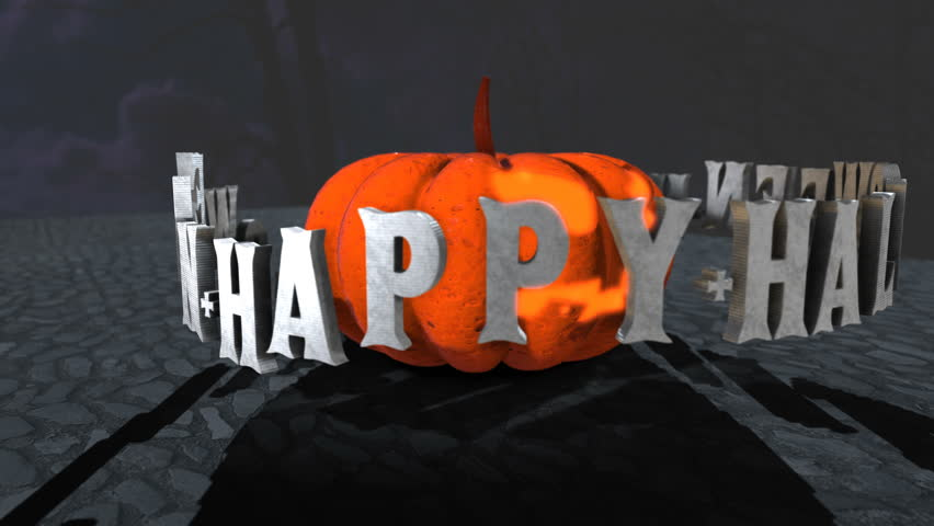Seamless animation of a pumpkin with Halloween letters spinning around.   Shutterstock HD Video #1018144255