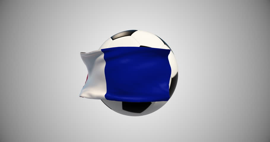 Flag, soccer ball animated.Alpha matte channel.Sport news.France Football Championships. 4k animation. Object of advertising.Screen saver | Shutterstock HD Video #1018146205
