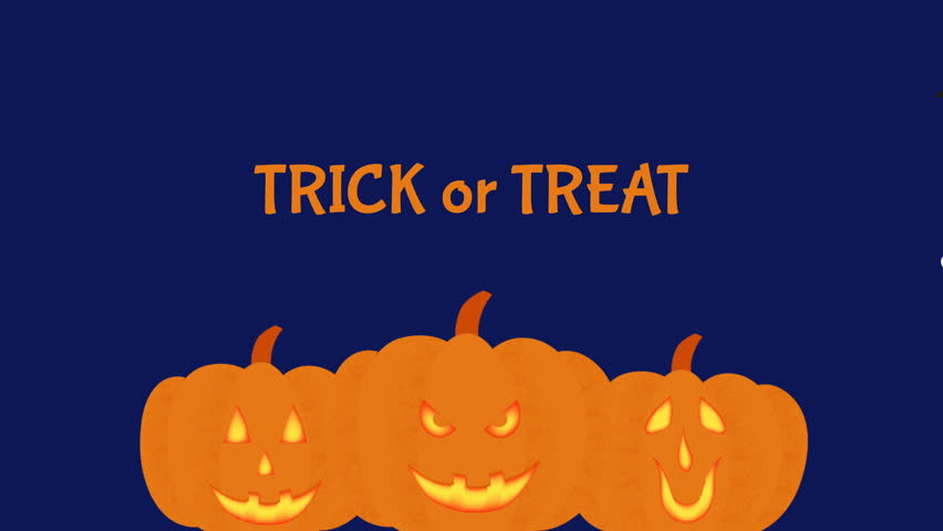 Trick or Treat animation for Halloween. Cartoon video with pumpkins, ghost, black cat and bat.   Shutterstock HD Video #1018160335