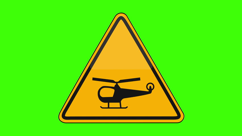 Symbol Low Flying Helicopters Yellow Sign Green Screen   Shutterstock HD Video #1018173655
