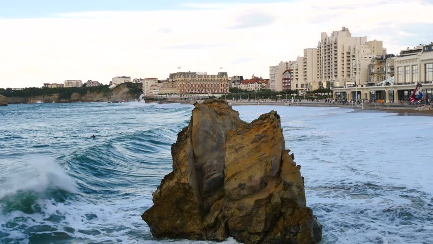 La Grande Plage, the town's largest beach in Biarritz. It is a city on the Bay of Biscay, on the Atlantic coast in the Pyrénées-Atlantiques in Southwestern France. Big waves. Filmed in october 2018.