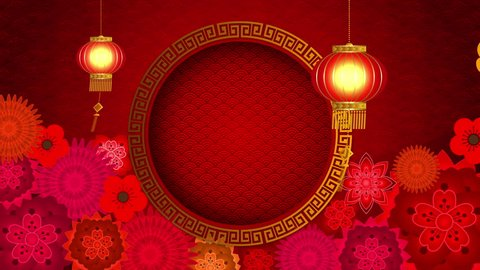 Chinese New Year also known as the Spring Festival. Digital particles loop background with Chinese ornament, cherry blossom and Chinese calligraphy means good health, good luck, good fortune
