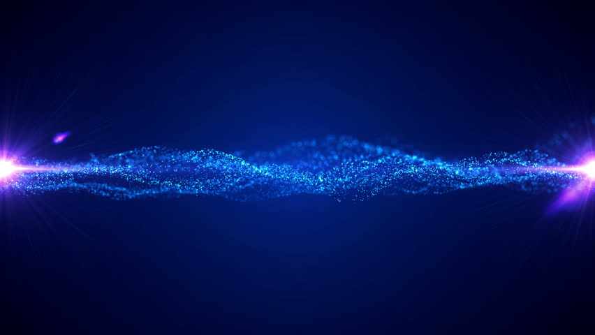 Vector blue waves with light flare. Opening intro title animation rippling particles. | Shutterstock HD Video #1018371715