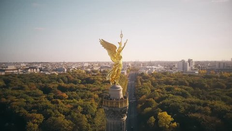 Aerial view of the famous Berlin Victory Column in Germany