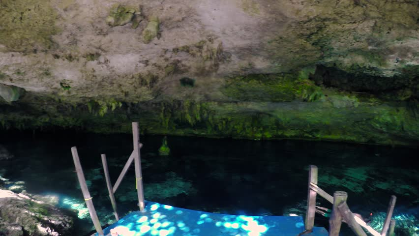 One of the entrances to the underwater caverns at the Dos Ojos cenote near Tulum, Mexico.