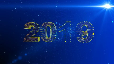 New Year's conceptual animation, camera movement in the space between the symbols of 2018 and 2019, alpha channel