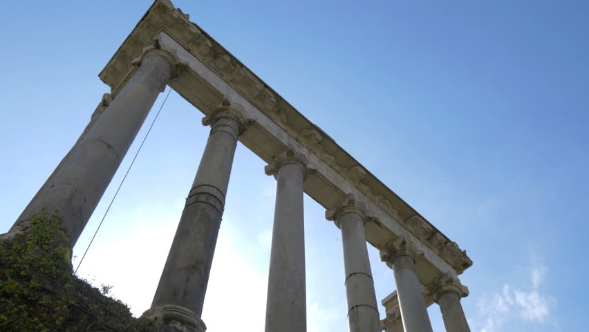 Columns of the Temple of Saturn, Roman Forum, Rome, Italy | Shutterstock HD Video #1018573615