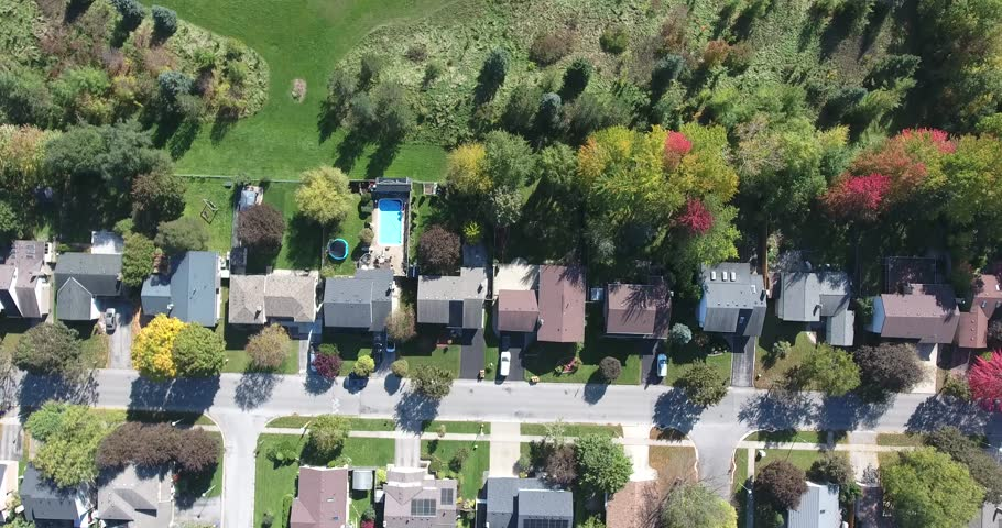 Flying Over Houses Into Park Aerial | Shutterstock HD Video #1018582915