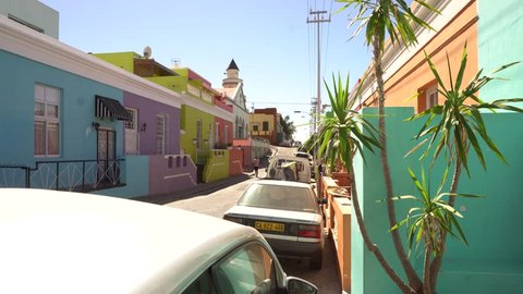 Static shot of the colorful houses of Bo Kaap in Cape town, South africa.