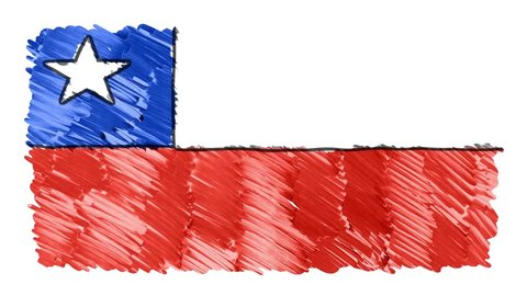 stop motion marker drawn CHILE flag cartoon animation background new quality national patriotic colorful symbol video footage