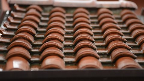 roof tiles in a rainy day
