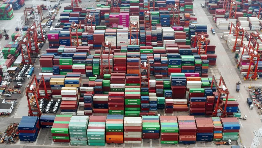 Kwai Tsing, Hong Kong, 09 October 2018:- Kwai Tsing Container Terminals | Shutterstock HD Video #1018629355