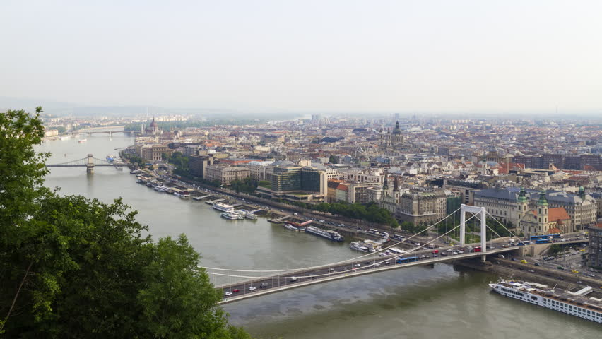 Timelapse, view from above on the Budapest city, historical district and Danube river in Hungary | Shutterstock HD Video #1018642945