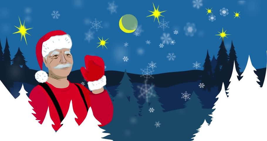 Santa Claus; Santa Claus waving hand on background of winter landscape,  New Year card, New Year,  flat design,Christmas,Dynamic Cartoon , Animated Cartoon,4k size, 4k format