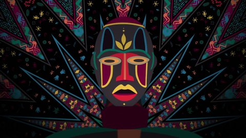 African Shaman Mask Kaleidoscope Patternloop animation for films about traditional African culture and symbols, LED screens installations, projection and video mapping, light show, performance, fashio