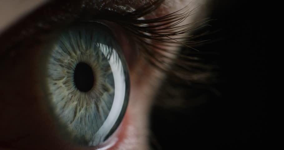 Macro beauty eye opening looking scared blinking healthy eyesight close up | Shutterstock HD Video #1018691545