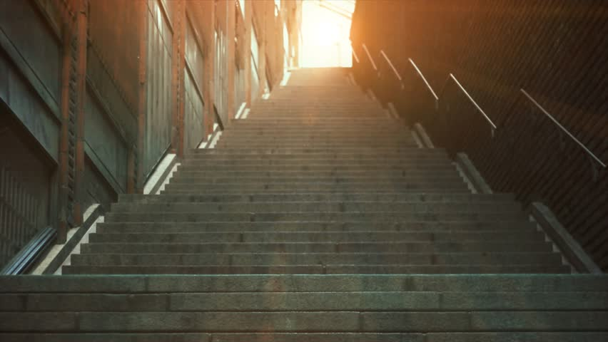 4K stairway of city behind buildings. End of the stairway, sunlight and shine. Modern grunge stairs.  | Shutterstock HD Video #1018702885