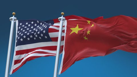 4k Seamless United States of America and China Flags with blue sky background,A fully digital rendering,The flag 3D animation loops at 20 seconds,USA CN.cg_06524_4k