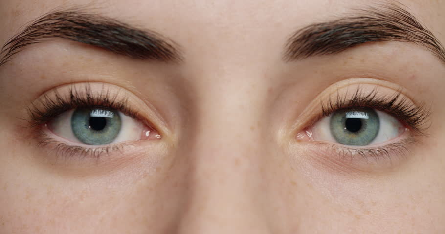 Close up blue eyes blinking beautiful woman natural color healthy eyesight concept | Shutterstock HD Video #1018711435