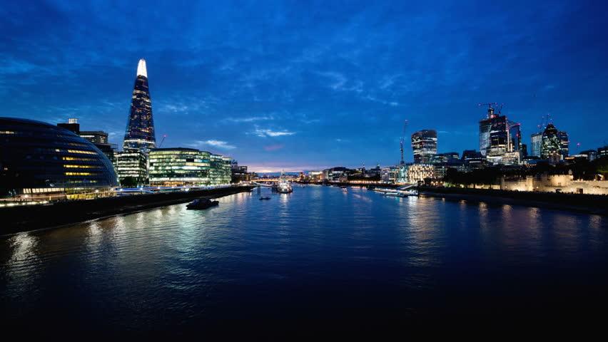 Hyper lapse of sunset, London skyline from the Tower Bridge, UK