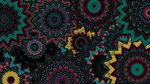 Tribal African Kaleidoscope Pattern for traditional and ethnic films, music video, promo, night club, fashion show, dance decoration, art installation, festival.