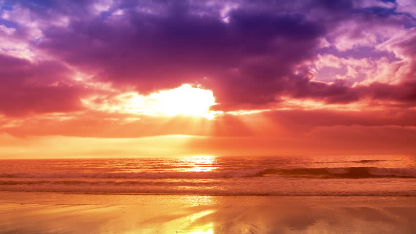 Timelapse of a beautiful beach in galicia, spain just after a storm close to sunset with amazing colours and reflections in the water   Shutterstock HD Video #1018774075