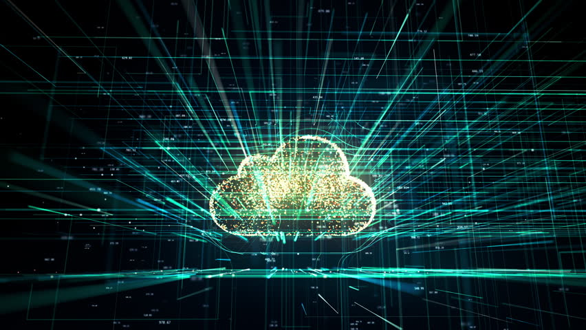 Cloud technology, cloud computing symbol, random moving numbers and others elements which creating abstract 3D information technology animation | Shutterstock HD Video #1018904035