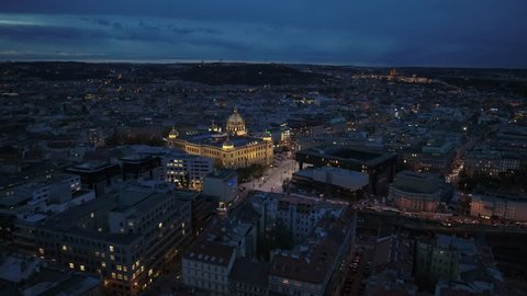Prague Wenzelsplatz by night drone flying forward 4K aerial national museum Narodni muzeum Celakovskeho, Vinohrady