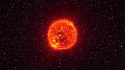 Loopable: Sun surface with solar flares. The Sun spinning in space against 3D star background. Elements of this clip furnished by NASA.