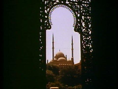 CAIRO, EGYPT, 1977, Muhammad Ali Mosque, filigree keyhole arch