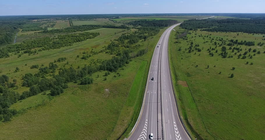 New federal motorway Moscow–Saint Petersburg designated as the ?11 tollway. Aerial view. Russia | Shutterstock HD Video #1019123305