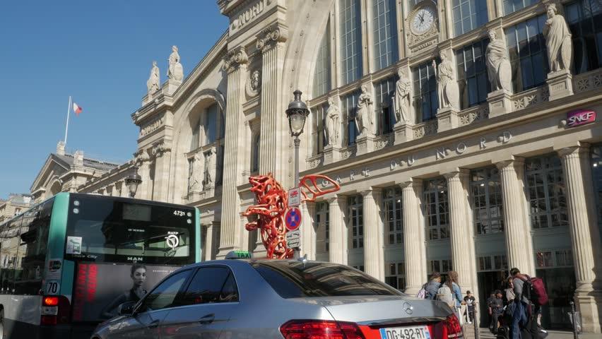 Paris, France - September 2018. Angel Bear sculpture at Gare du Nord Rail Station terminus Entrance, Rue de Dunkerque, 10th arrondissement, Paris, France