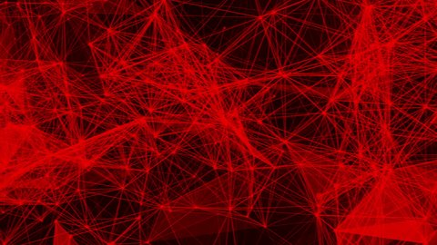red abstract shape from a three-dimensional grid is slowly deforming on a black background. 3d rendering