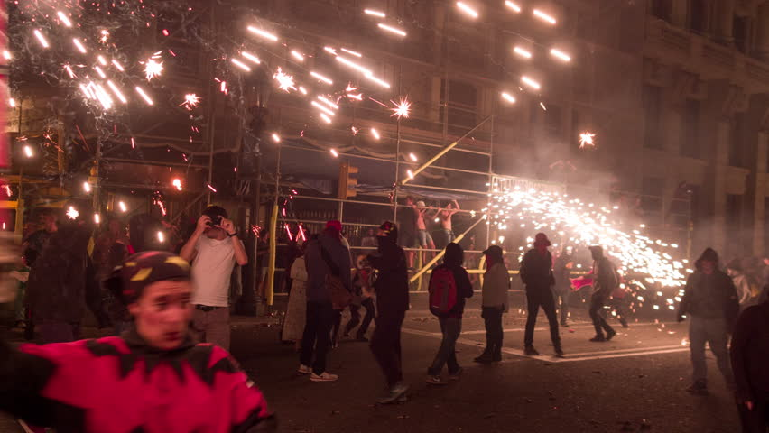 Barcelona, Spain - September 22 2018 : Crowds in the street for the fire run, correfoc during la merce festival. | Shutterstock HD Video #1019226925