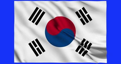 Flag of South Korea waving on a loopable 4K animation over an easily keyable background.mp4