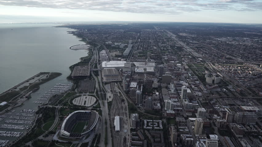Chicago Circa-2015, wide aerial view of Soldier Field with soft light in the morning | Shutterstock HD Video #1019464945