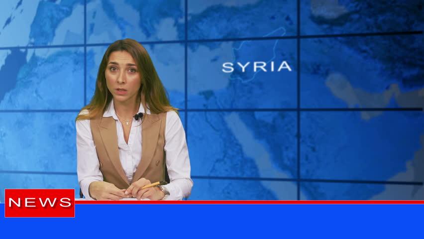 Female anchorwoman  in broadcasting studio | Shutterstock HD Video #1019521075