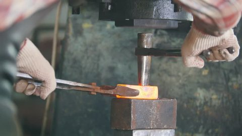 Blacksmith Working with Hammer On Stock Footage Video (100